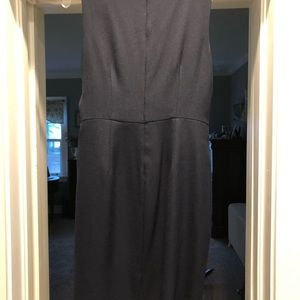Navy blue modified wrap dress.
